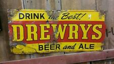 """Drewrys Beer tin advertising sign embossed letters 23"""" long 15"""" tall Lot 38E"""