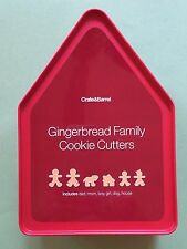Crate & Barrel - Gingerbread Family Six Cookie Cutters And Tin - Christmas NEW!
