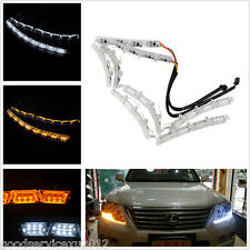 A Pair Dual Color Elastic Switchback Lights Strip Car Headlight Sequential Lamps