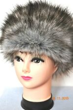 GREY silver fox Faux Fur PREMIUM QUALITY Hat WOLF Russian Style Cossack Fluffy