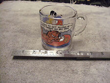 "Garfield  "" Im easy to get along"" Glass cup, 1978 copyright date, faded Colors"