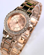 Henley Ladies Watch Sparkling Crystal Double Diamante Rim, Rose Gold Tone, Boxed