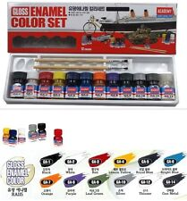 GLOSS ENAMEL 12 COLOR SET + 2 BRUSH / ACADEMY MODEL KIT / Modeling Tool