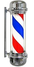 "28"" Barber Pole LED Light Red White Blue Stripes Rotating Metal Hair Salon Shop"