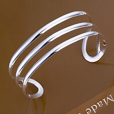 Promotion Price 925Sterling Silver Unique Three Lines Bangle Cuff Bracelet B046