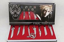 Set of 8 pcs Final Fantasy 7 FF Cloud Strife Metal Swords Keychain In Box + GIFT