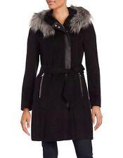 NWT KARL LAGERFELD Paris Women's Wool Blend Black Hooded Zipper Coat Size S
