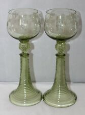 Antique Pair of Green Roemer Glasses with Conical Spun Feet