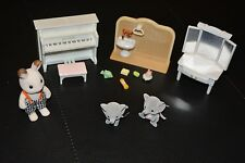 Calico Critters Sylvanian Family Families lot - baby elephant twins piano vanity
