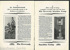 1928 Eveready SUNSHINE LAMP advertisement, National Carbon Co, arc lamp