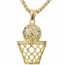 """14k Gold Plated Stainless steel Basketball Hoop Pendant 24"""" Box Chain SCP 3086 G"""