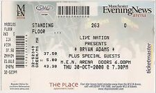 USED CONCERT TICKET - BRYAN ADAMS - MEN ARENA MANCHESTER 30th OCTOBER 2008