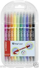 STABILO Trio 2 in 1 Premium Wallet of 10 / Doube Ended Fibre Tip Colouring Pens