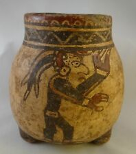 """Ancient Mayan Footed Pottery Vase with Glyphs. 600 to 900 AD. 6"""" t"""