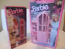 Vtg 80's BARBIE FURNITURE Sets SWEET ROSES WALL UNIT & LIVING ROOM ACCENTS Boxed