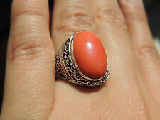 Vintage Chinese Silver Salmon Coral Cabochon Ring Size 6