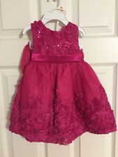 NWT Baby Girls Rare Editions Fuchsia Rosette Dress Special Occasion Sz 12 month