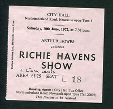 1972 Richie Havens Linda Lewis Concert Ticket Stub Newcastle Here Comes The Sun