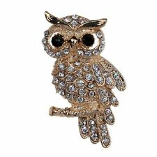 Beautiful Gold Plated Imitation Diamond Owl Brooch Quirky Unique