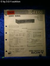 Sony Service Manual TC FX150 Cassette Deck (#1835)