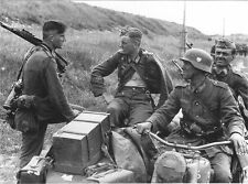 B&W WW2 Photo WWII German Sniper Motorcycle Troops K98k