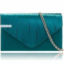 Teal Blue Satin Wedding Ladies Party Evening Clutch Hand Bag Purse Handbag