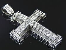 Sterling Silver Lab Diamond Blocked Cross Pendant Charm In White Gold Finish 2""