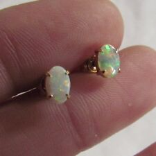 Vintage 18K Yellow Gold 4x6mm White Opal Post Earrings