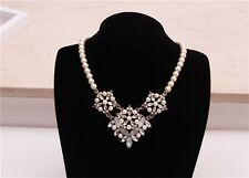 European Fashion Pearl Short Chain Mixed Resin Crystal Flowers Bib Necklace