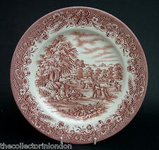 "Churchill Harvest Time Brown Pattern For Currier & Ives Dinner Plates 10"" VGC"