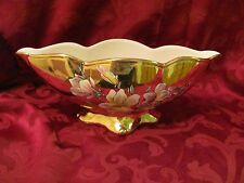 Royal Winton Grimwades Thames gold console bowl hand painted flowers footed