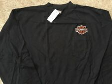 Harley Davidson Long Sleeve Front Pocket Mock Shirt Nwt Men's Large