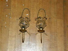 3 pc set Hollywood Regency Gold Metal Rope Glass Wall Shelf  & 2 Candle Sconces