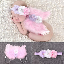 Newborn Baby Girls Angel Wings Wing Set Pink Feather Photography Pro +Headband