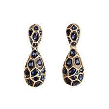 ANTHROPOLOGIE BEAUTIFUL BLUE GOLD DROP DANGLE EARRINGS – NEW