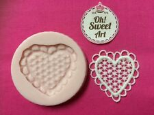 Lace Heart silicone mold fondant cake decorating cupcake topper food soap FDA