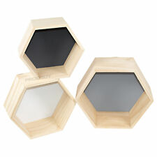 Set of 3 Mono Wall Mounted Hexagons Floating Shelves Storage Boxes Cubes Shapes