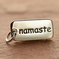 925 Sterling Silver Namaste Tag Pendant Word Charm for Necklace Yoga