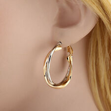 1 pair Women Stainless Steel Gold Silver Ear Hoop Stylish Earring Jewelry