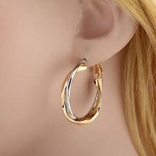 1 pair Women Stainless Steel Gold Silver Ear Hoop Stylish Earring Jewelry