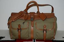 Ralph Lauren Gentleman's Leather & Canvas Weekender Duffle Bag