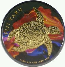 2015 1 Oz Silver Fiji Turtle Ruthenium Colorized Fire Gold 999 Fine With Coa.