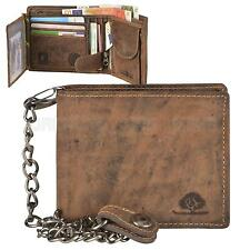 Mens Wallet with Chain Leather Brown Biker VINTAGE Greenburry 1796-S