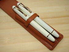 JINHAO X450 IVORY COLOR FOUNTAIN PEN & ROLLER PEN SET W/ LEATHER PEN CASE