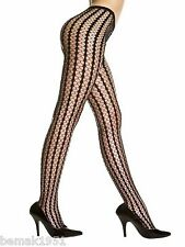 Black Seamless Stripes Crocheted Pantyhose Tights One Size Music Legs 9010
