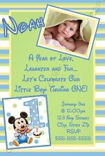 Disney Baby Mickey Mouse First 1st Birthday Invitations Green 8 pk Personalized