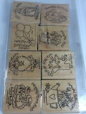 Stampin Up Card Sentiments Get Well Thank You Happy Birthday 8 Stamp NICE EASY