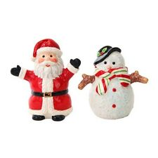 Santa Clause & Snowman Ceramic Salt & Pepper Shakers Set.Chrismas Holiday Decor