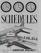 AMERICAN AIRLINES  DC-7C CONVENIENT SCHEDULES TO 77 CITIES 2 PG 1954 AD