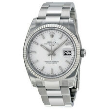 Rolex Oyster Perpetual Date White Dial Fluted 18kt White Gold Bezel Mens Watch